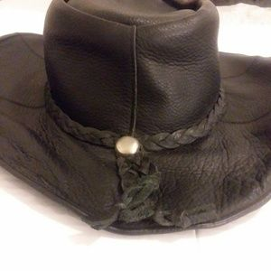 Black Mens Leather Cowboy Hat XL
